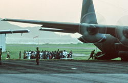 Hercules help evacuate people from Montserrat